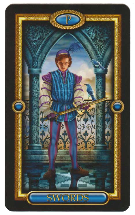 Page of Swords from The Gilded Tarot